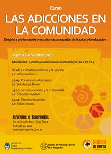 Afiche Curso: Las Adicciones en la Comunidad